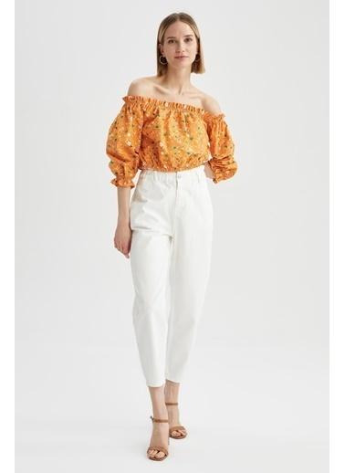 DeFacto Fırfırlı Carmen Yaka Çiçekli Bluz Turkuaz